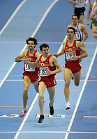 Photo: Rich Eaton.<br /> <br /> EAA European Athletics Indoor Championships, Birmingham 2007. 04/03/2007. Spains Juan Carlos Higuero  celebrates victory in the mens 1500m race ahead of Sergio Gallardo, left,  and Arturo Casado , right, also of Spain