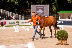 Houtzager Marc, NED, Sterrehofs Calimero<br /> Rotterdam - Europameisterschaft Dressur, Springen und Para-Dressur 2019<br /> Vet-Check Springen<br /> Horse Inspection Jumping horses<br /> 19. August 2019<br /> © www.sportfotos-lafrentz.de/Sharon Vandeput