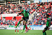 Scunthorpe United's Funso Ojo (6) clears this cross during the EFL Sky Bet League 1 play off second leg match between Rotherham United and Scunthorpe United at the AESSEAL New York Stadium, Rotherham, England on 16 May 2018. Picture by Nigel Cole.
