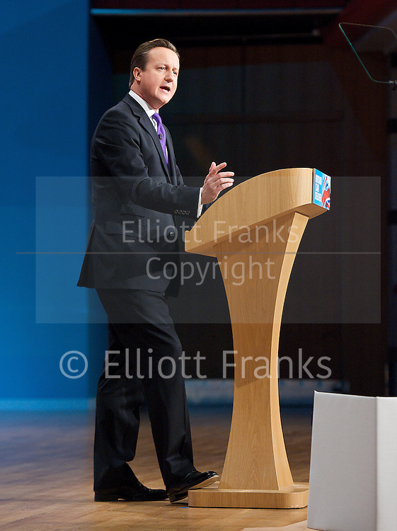 Conservative Party Conference, ICC, Birmingham, Great Britain <br /> 10th October 2012 <br />  Day 4<br /> <br /> Rt Hon David Cameron MP <br /> Prime minister <br /> keynote speech <br /> <br /> <br /> <br /> Photograph by Elliott Franks<br /> <br /> United Kingdom<br /> Tel 07802 537 220 <br /> elliott@elliottfranks.com<br /> <br /> ©2012 Elliott Franks<br /> Agency space rates apply