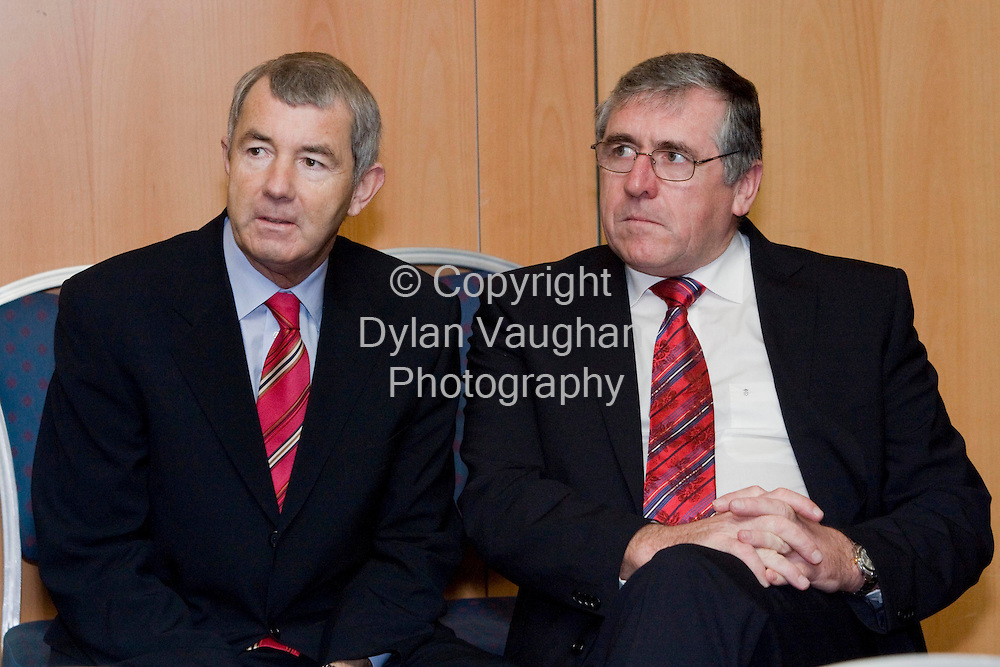 22/1/2008.Independent TD Michael Lowry and Deputy Tom Hayes pictured at the An Bord Pleanalla oral hearing at the Hotel Minella in Clonmel yesterday..Picture Dylan Vaughan.