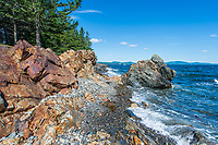 This is part of the rocky coastline along the entrance of Owl Head Harbor, near the lighthouse of the same name.