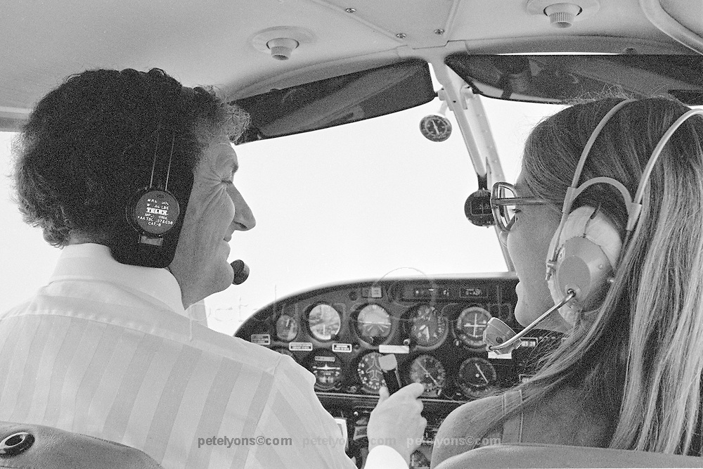 Derek Gardner and photographer Chris Mullen in Piper Cherokee enroute Biggin Hill to Anderstorp, 1976