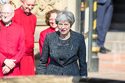 © Licensed to London News Pictures. 22/05/2018. Manchester UK. Prime minister Theresa May at the memorial service at Manchester Cathedral. Today marks the first anniversary of the Manchester Arena bombing. 22 people died when Salman Abedi detonated a bomb at an Ariana Grande concert. Photo credit: Andrew McCaren/LNP