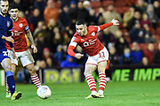 GOAL - Conor Chaplin of Barnsley FC shoots and scores for Barnsley to make the score 2-0 during the EFL Sky Bet Championship match between Barnsley and Huddersfield Town at Oakwell, Barnsley, England on 11 January 2020.