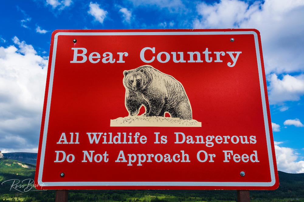 Bear country warning sign, Glacier National Park, Montana USA