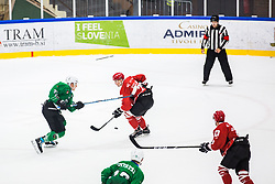 STOJAN Nejc vs CEPON Mark during the match between HDD Jesenice vs HK SZ Olimpia at 16th International Summer Hockey League Bled 2019 on 24th August 2019. Photo by Peter Podobnik / Sportida
