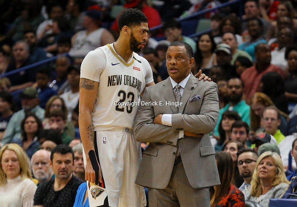 Mar 17, 2018; New Orleans, LA, USA; New Orleans Pelicans head coach Alvin Gentry talks to forward Anthony Davis (23) during the second quarter against the Houston Rockets at the Smoothie King Center. Mandatory Credit: Derick E. Hingle-USA TODAY Sports