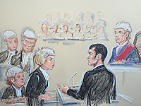 Adam Johnson questioned by Kate Blackwell QC, Judge Rose on far right