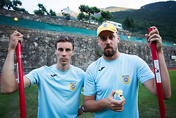 Miran Kovacic and Martin Zupancic during practice session before football match between NK Domzale and FC Lusitanos Andorra in second leg of UEFA Europa league qualifications on July 6, 2016 in Andorra la Vella, Andorra. Photo by Ziga Zupan / Sportida