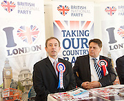 British National Party election manifesto launch for the May 3 London Assembly elections in East London, Great Britain <br /> 9th April 2012 <br /> <br /> <br /> Carlos Cortiglia <br /> mayor of London candidate for the BNP <br /> <br /> Nick Griffin - chairman / leader of the BNP <br /> <br /> <br /> Photograph by Elliott Franks