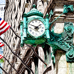 Chicago Macy's clock on the old Marshall Field's building store in downtown Chicago. The famous clock is one of Chicago's most recognizable symbols.  The picture is a digital painting created from a photo.