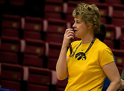 March 19, 2010; Stanford, CA, USA;  Iowa Hawkeyes head coach Lisa Bluder before the first round game of the 2010 NCAA Womens Division I Championship at Maples Pavilion.