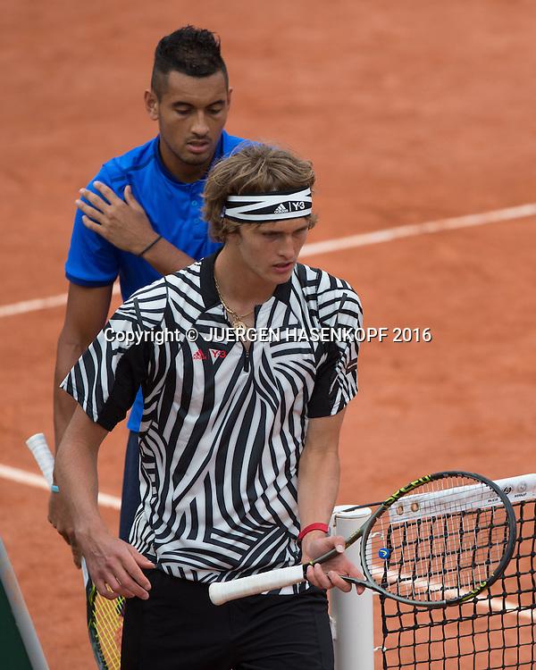 Alexander Zverev und Nick Kyrgios, Doppel<br /> <br /> Tennis - French Open 2016 - Grand Slam ITF / ATP / WTA -  Roland Garros - Paris -  - France  - 26 May 2016.