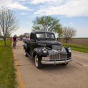 A 1947 Chevrolet truck riding on he historic U.S. Route 66.  The Mother Road starts in Chicago traveling through 6 states and ending in Santa Monica, California.<br /> Photography by Jose More