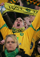Huddersfield - Saturday, March 13th, 2010: Norwich City fan celebrating his teams win against Huddersfield Town in the Coca Cola League One match at the Galpharm Stadium, Huddersfield. (Pic by Michael Sedgwick/Focus Images)