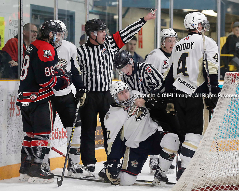 TRENTON, ON  - MAY 3,  2017: Canadian Junior Hockey League, Central Canadian Jr. &quot;A&quot; Championship. The Dudley Hewitt Cup. Game 4 between the Georgetown Raiders and Trenton Golden Hawks. OHA Referee send players to the penalty box during the third period <br /> (Photo by Amy Deroche / OJHL Images)