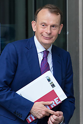 London, July 23rd 2017. TV presenter Andrew Marr leaves the BBC's New Broadcasting House following the season finale of his eponymously named Andrew Marr Show.