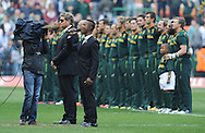 CAPE TOWN, SOUTH AFRICA - Saturday 28 September 2013, Katlego Maboe sings the Australian national anthem &quot;Advance Australia Fair&quot; during the Castle Lager Rugby Championship test match between South Africa (Sprinkboks) and Australia (Wallabies) at DHL Newlands in Cape Town.<br /> Photo by Roger Sedres/ ImageSA
