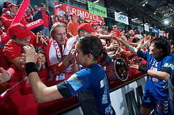 Andrea Lekic, Liudmila Bodnieva and Krimovci, Fans of Krim at EHF Champions league handball match in Group II between RK Krim Mercator and Gyori Audi Eto KC, on February 7, 2009, in Kodeljevo, Ljubljana, Slovenia. Gyori won 35:31. (Photo by Vid Ponikvar / Sportida)