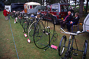 Display of old bicycles including a penny farthing, Power of the Past event, Wantisden, Suffolk, England, UK c 2001