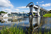 Built in 2002, the Falkirk Wheel is the world's first and only rotating boat lift. It reconnects the Forth and Clyde Canal with the Union Canal for the first time since the 1930s. The wheel raises boats by 24 metres (79 ft) in just 15 minutes, then a pair of locks raises them 11 metres (36 ft) higher to reach the Union Canal. Falkirk, central Scotland, United Kingdom, Europe.