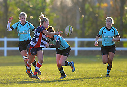 Meg Jones of Bristol Ladies off loads the ball - Mandatory by-line: Paul Knight/JMP - 04/12/2016 - RUGBY - Cleve RFC - Bristol, England - Bristol Ladies v Worcester Valkyries - RFU Women's Premiership