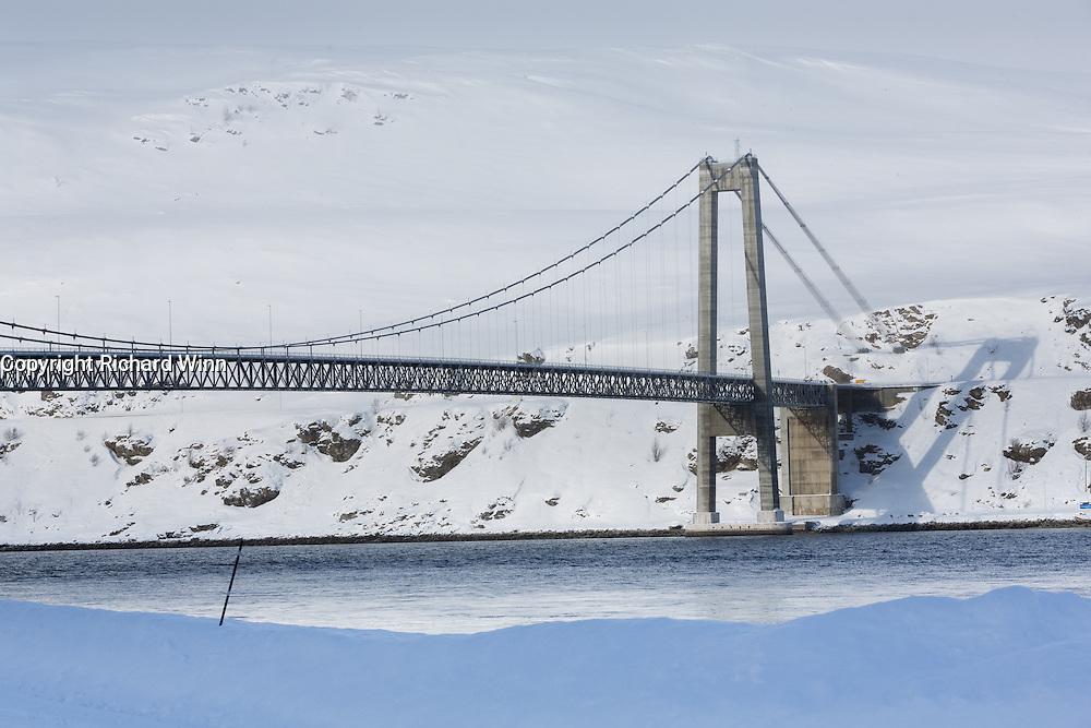 Kvalsund Bridge, in Finnmark, Norway, the most northerly suspension bridge in the world.