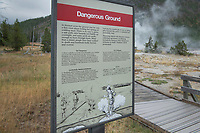 Warning sign at Black Sand Basin Yellowstone National Park