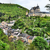 Vianden Castle and Row Houses in Vianden, Luxembourg <br />