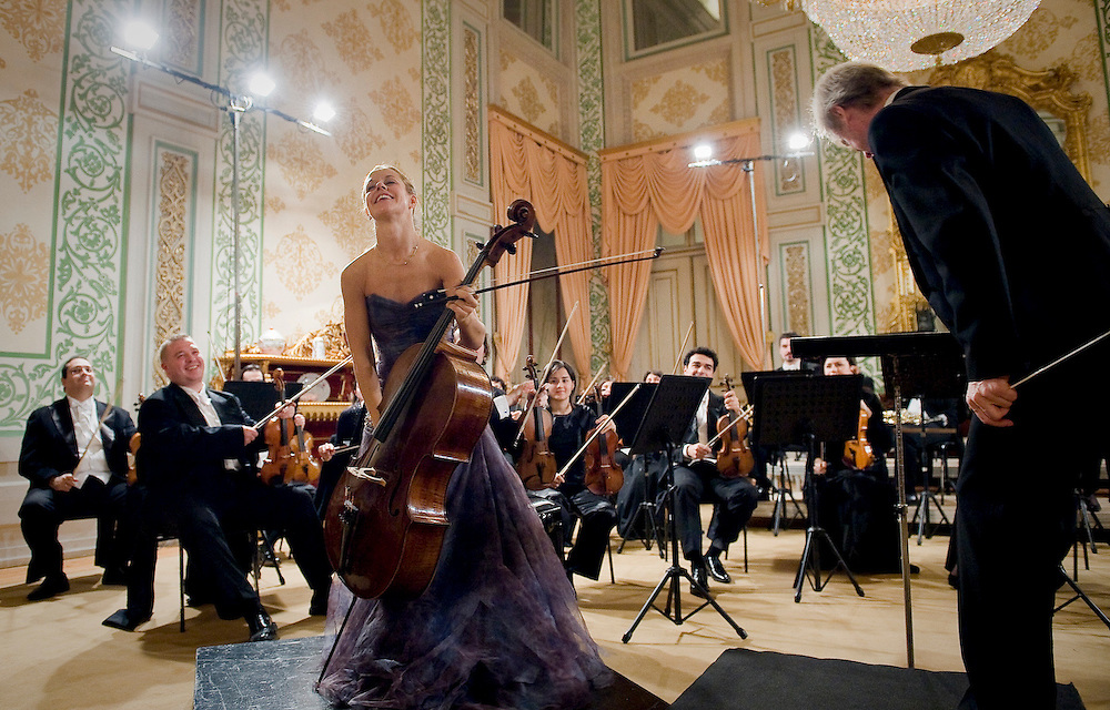 Cello Player bows at a concert in Lisbon Natioal Palace of Ajuda , Lisbon 2008