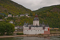 Germany, River Rhine. River castle and a town on the banks of the Rhine in Southern Germany