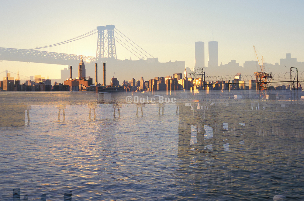 Ghost-like shadow of the World Trade Center and the Williamsburg Bridge