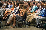 Hundreds of incoming freshmen listen to Jennifer Murphy, Assistant Dean of Ohio University's College of Business, during the Freshman Convocation at Nelson Commons on August 20, 2016.