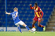 Louis Reed of Chesterfield is tackled by Omari Patrick of Bradford City during the EFL Trophy match between Chesterfield and Bradford City at the b2net stadium, Chesterfield, England on 29 August 2017. Photo by Paul Thompson.