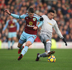 Johann Gudmundsson of Burnley (L) and Jesse Lingard of Manchester United in action - Mandatory by-line: Jack Phillips/JMP - 20/01/2018 - FOOTBALL - Turf Moor - Burnley, England - Burnley v Manchester United - English Premier League