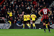 Goal - Abdoulaye Doucoure (16) of Watford celebrates after he scores a goal to give a 0-1 lead during the Premier League match between Bournemouth and Watford at the Vitality Stadium, Bournemouth, England on 12 January 2020.