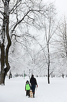 Snow covered Outremont Park / Parc Outremont, Montreal