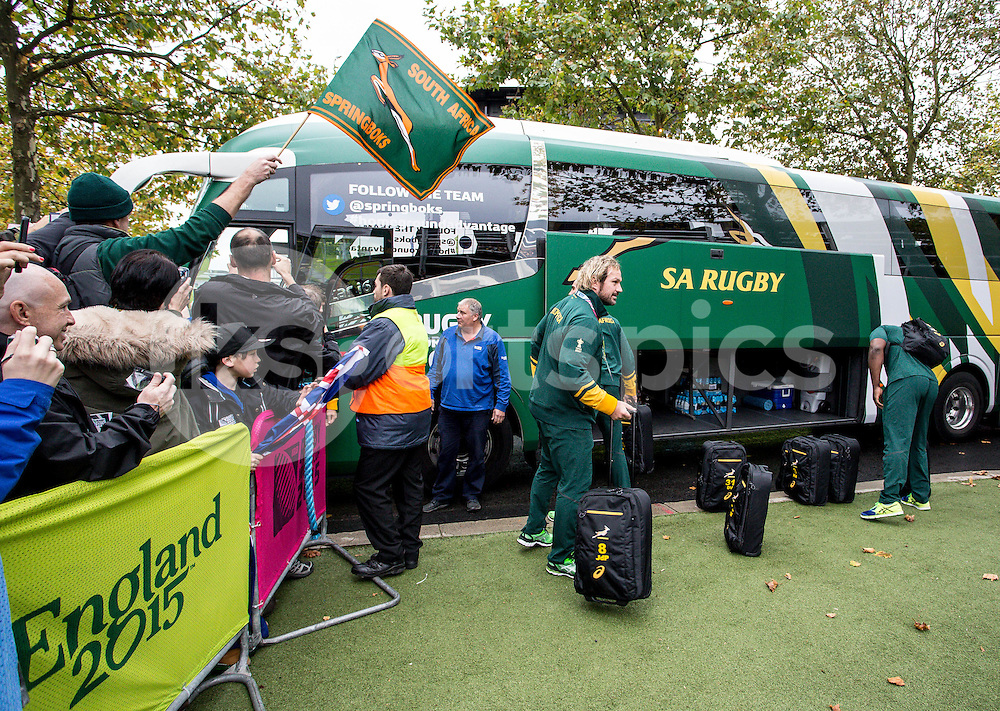 The SA team arrive prior to the Rugby World Cup Semi Final match between South Africa and New Zealand played at Twickenham Stadium, London on the 24th of October 2015. Photo by Liam McAvoy
