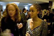 """Camilla Lowther and Adwoa Aboah, """"Vogue"""" Covers: by Robin Derrick  and  Robin Muir. Chanel. Brompton Rd. London. 17 October 2007. -DO NOT ARCHIVE-© Copyright Photograph by Dafydd Jones. 248 Clapham Rd. London SW9 0PZ. Tel 0207 820 0771. www.dafjones.com."""