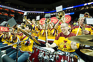 19 MAR 2015: Iowa State University Prep Band gets the fans excited as the Cyclones take on the University of Alabama - Birmingham during the 2015 NCAA Men's Basketball Tournament held at the KFC Yum! Center in Louisville, KY. UAB defeated ISU 60-59. Brett Wilhelm/NCAA Photos