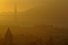 Golden Gate Bridge Sunset from Nob Hill