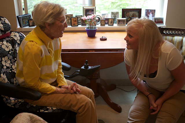 Janet Smith visits with friends and her Hospice of North Idaho care team at her room in Garden Plaza on Wednesday, June 1, 2011.