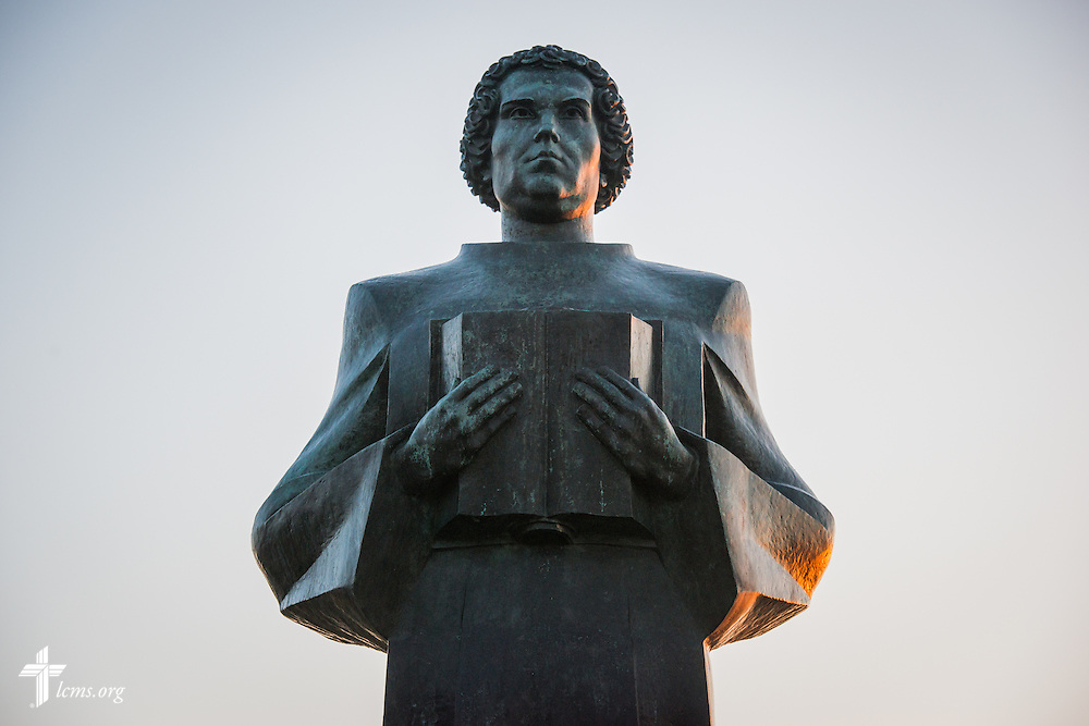 The sun rises over the Martin Luther statue at Concordia Theological Seminary, Fort Wayne, Ind., on Wednesday, April 1, 2015. LCMS Communications/Erik M. Lunsford