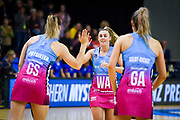 Steel's Gina Crampton runs onto the court before the Steel Vs Mystics, ANZ Premiership, ILT Stadium, Invercargill, New Zealand.  Super Sunday, 5 May 2019.  © Copyright Photo:  Clare Toia-Bailey / www.photosport.nz