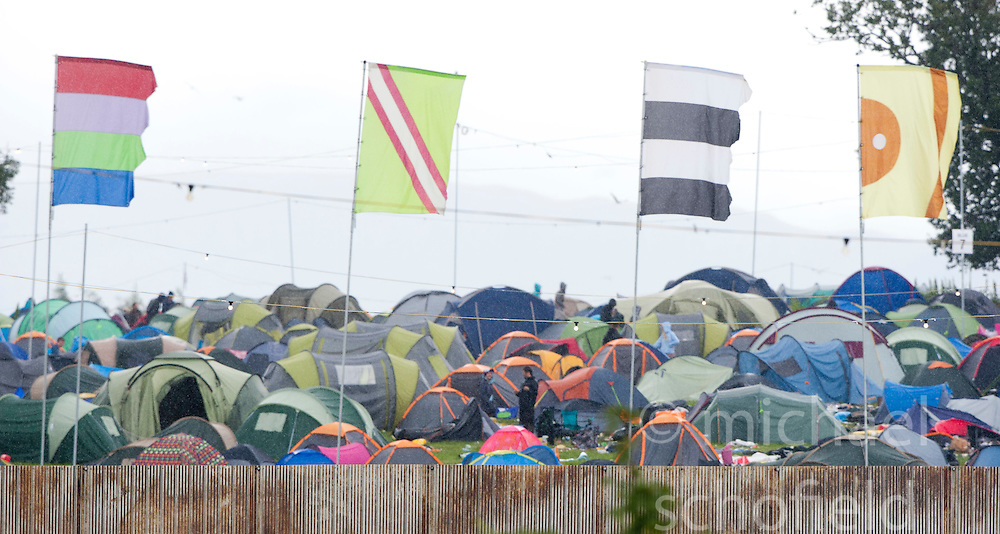 Pic of the campsite as the campers head home after the weekend..T in the Park on Monday 11th July 2011. T in the Park 2011 music festival takes place from 7-10th July 2011 in Balado, Fife, Scotland..©Pic : Michael Schofield.