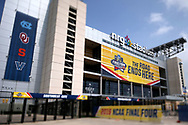 Mar 31, 2016; Houston, TX, USA; (Editors note: a tilt shift lens was used in the creation of this image) A general view of signs and NRG Stadium before the Final Four. Mandatory Credit: Peter Casey-USA TODAY Sports