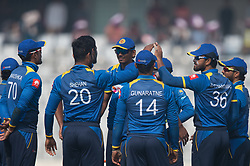January 25, 2018 - Dhaka, Dhaka, Bangladesh - Sri Lanka team celebrating the wicket of Bangladesh batsman during the 6th ODI match in the Tri-series between Sri Lanka vs Bangladesh at the Sher-e-Bangla National Cricket Stadium in Mirpur, Dhaka on 25th  January 2018. (Credit Image: © Sameera Peiris/Pacific Press via ZUMA Wire)