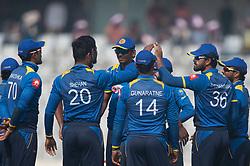 January 25, 2018 - Dhaka, Dhaka, Bangladesh - Sri Lanka team celebrating the wicket of Bangladesh batsman during the 6th ODI match in the Tri-series between Sri Lanka vs Bangladesh at the Sher-e-Bangla National Cricket Stadium in Mirpur, Dhaka on 25th  January 2018. (Credit Image: © Sameera Peiris/Pacific Press via ZUMA Wire)
