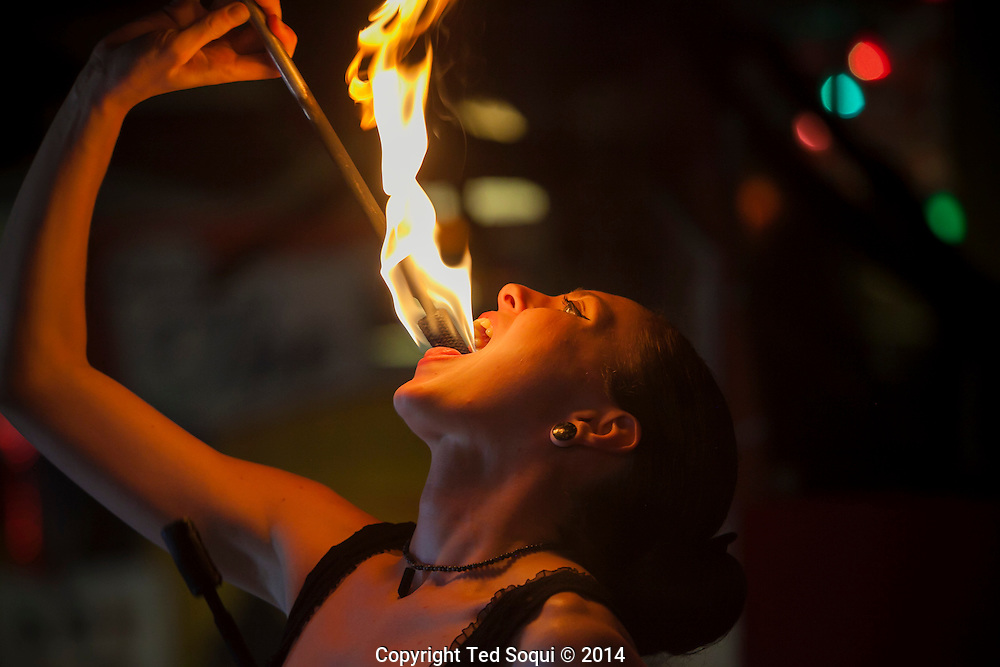 Sunshine, a fire eater at the Freakshow.<br /> Venice Beach Freakshow on the Venice Beach boardwalk. A sideshow attraction featuring freak performers and displays of the abnormal. The Freakshow is located in the middle of LA's own freakshow, Venice Beach.